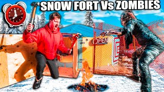 Apocalypse Survival Snow FORT! 24 Hour Challenge Vs ZOMBIES