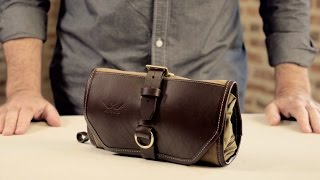 The Roll-Up Shave Kit   Waxed Canvas & Leather Toiletry Bag