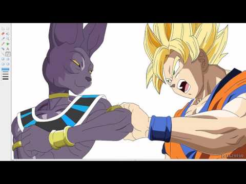 Dibujando a Goku vs Bills Dragon Ball Z Drawing Goku vs Bills en paint