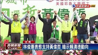 立委林俊憲為黃偉哲站台 代賴清德授戰旗