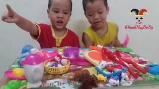 Khánh Huy và Bé Bun chơi đồ chơi nấu ăn trẻ em | Cooking Kitchen Playset For Kids