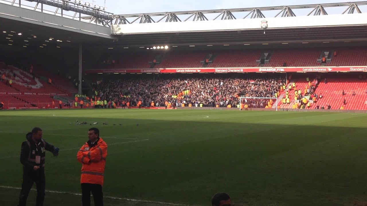 United Fans Singing at Anfield Man United Fans at Anfield