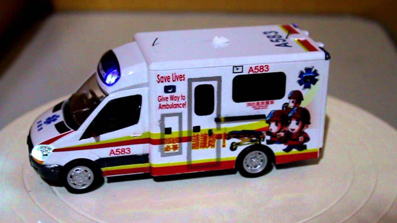 Hong kong ambulance mercedes benz hkfs cartoon w flashing lights