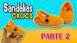 Sandalias tipo CROCS tejidas a crochet o ganchillo  PASO A PASO    parte 2/2 17.63 MB