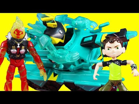 Ben 10 Helps Imaginext Batman & Power Rangers With Heatblast Rocket Flyer & Diamondhead Power Tank