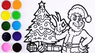 Como Dibujar y Colorear a Grinch y la Navidad - Dibujos Para Niños y Bebes - Learn Colors / FunKeep