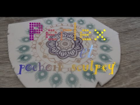 Idee technique poudre perlex et pochoir sculpey youtube for Pochoir technique