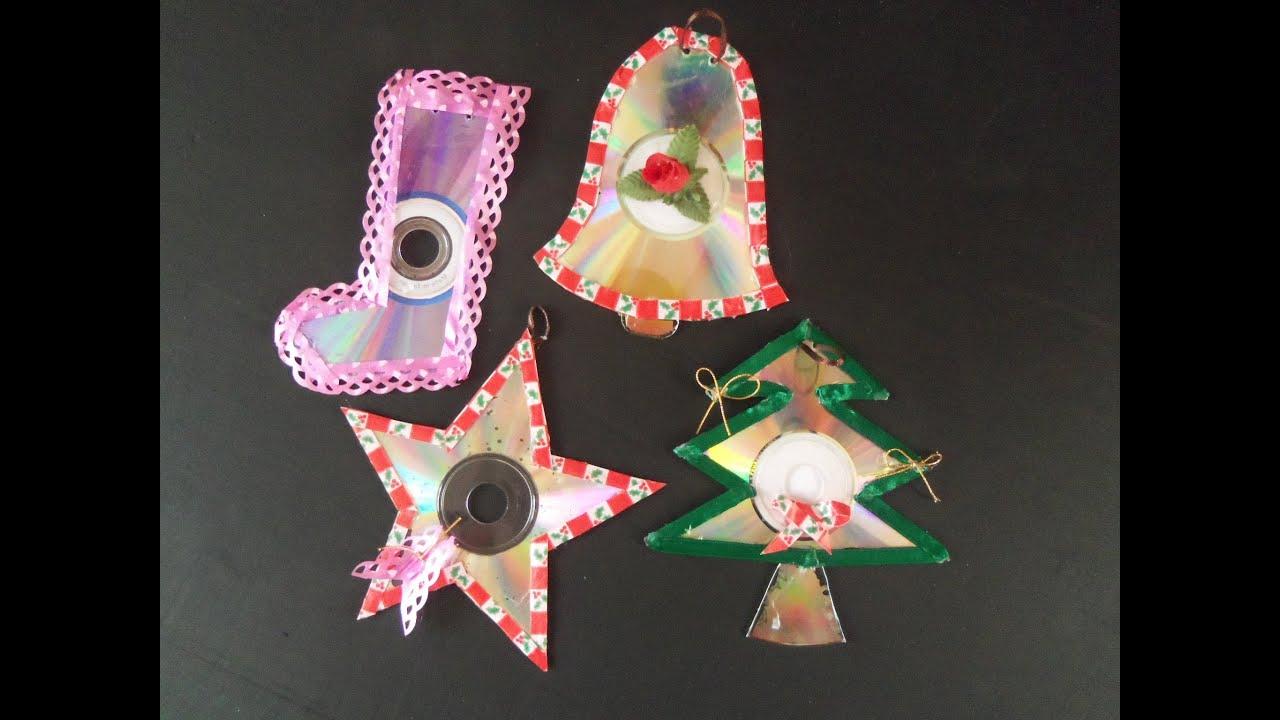 Adorno navide os de cd reciclados youtube - Adornos navidad reciclados para ninos ...