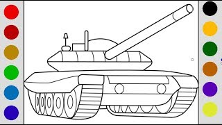How To Draw A Tank Learn Colors With Drawing Coloring For Kids, Teach Colors For Toddlers