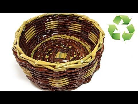 DIY: Cesta hecha con periódico. Newspaper basket.