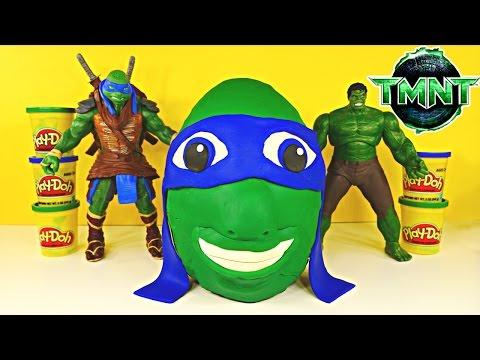 Giant Tmnt Surprise Egg Play Doh Teenage Mutant Ninja Turtle Huge Leonardo Huevo Sorpresa video