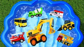 Cars For Kids - Excavator, Fire Truck, Tayo the bus, Crane Truck Learn Name sound Vehicles