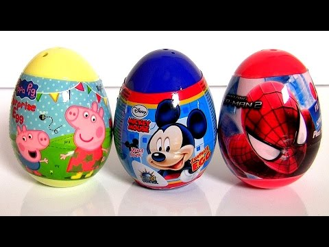 Spiderman2 Surprise Eggs Mickey Mouse Peppa Pig The Amazing Spider-Man2 Rise of Electro