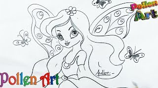Drawing for kids #22, How to Draw a Little and Cute Barbie butterfly Fairy | butterfly Fairy drawing