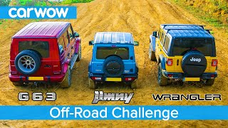 AMG G63 v Suzuki Jimny v Jeep Wrangler - Up-Hill DRAG RACE & which is best OFF-ROAD!