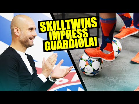 SkillTwins IMPRESS & INTERVIEW Pep Guardiola! (adidas GamedayPlus)