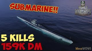 World of WarShips | U-69 | 5 KILLS | 159K Damage - Replay Submarine Gameplay 4K 60 fps
