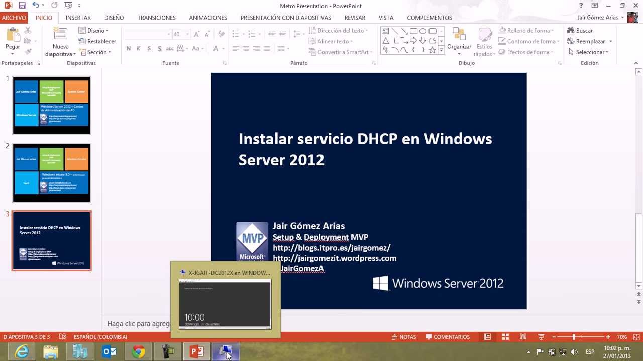 instalar servidor windows: