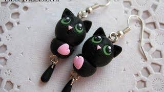 Серьги Черный Кот мастер класс. Black Cat  Polymer Clay Tutorial