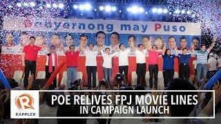 Poe relives FPJ movie lines in campaign launch