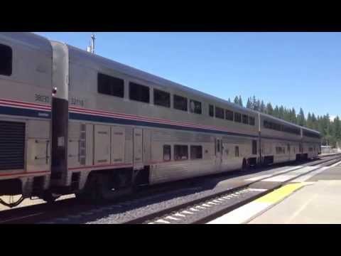 5 California Zephyr is going west bound leaving Colfax Amtrak a staion in CA