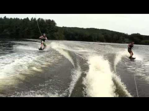 tandem wakeboarding on lake shirley