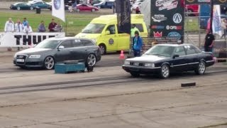 Audi 200 2.2T 20V vs Audi RS6 C6 5.0 V10 TFSI 1/4 mile drag race