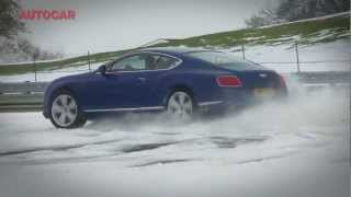 Supercars in the snow Audi R8, Bentley Continental GT Speed, Porsche 911, Jaguar XKR-S