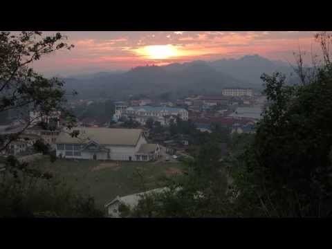 Laos sunset with local radio in background
