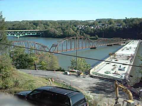 Ices Ferry Bridge 3/4 blown in Morgantown, WV