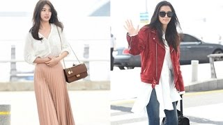 """Không hẹn mà gặp, Suzy """"đụng độ"""" đàn chị Jun Ji Hyun tại sân bay - Tin tức của sao"""