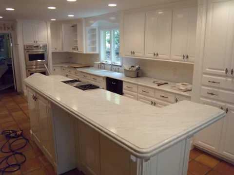 Honed Carrera Marble Kitchen With Laminated Island Youtube