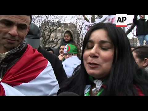 Demonstration in Paris to show support for anti gvmt protests in Algeria