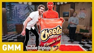 Human Flaming Hot Cheeto Challenge by : Good Mythical Morning
