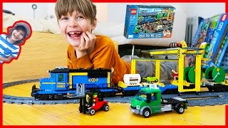 Lego Cargo Train Time Lapse Build and CRASH