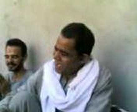 Funny arabic man singin and make music by his mouth