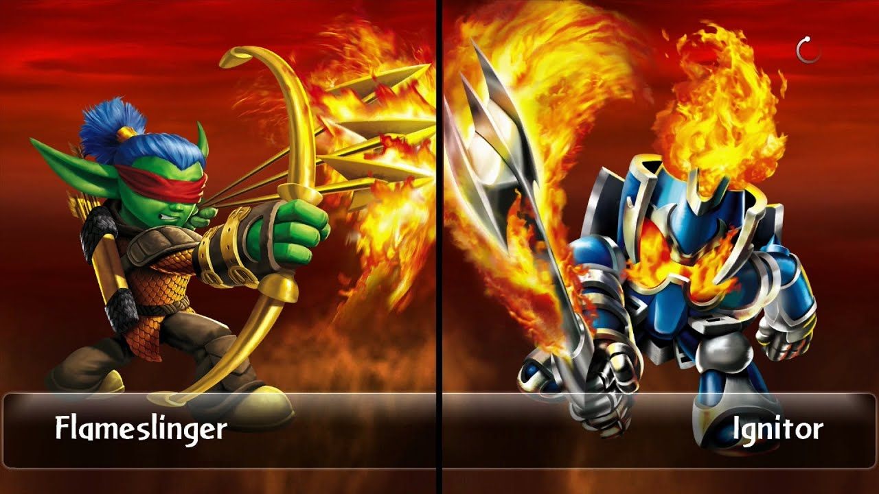 skylanders giants duellkampf skytore flameslinger vs