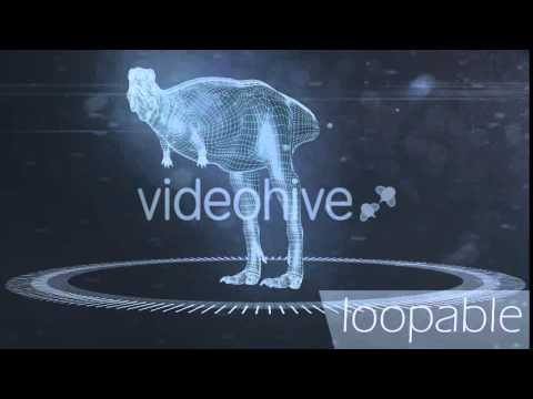 4K After Effects , Premiere Pro , Final Cut , Edius dinosaur Template Aucasaurus Hologram preview