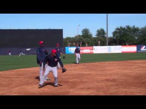 Miguel Sano takes grounders at Steinbrenner Field