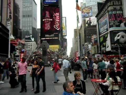 FDNY Fire Truck convoy, E 54, Lad 4, Batt 9. Traffic action on Time Square-New York City, Sept 2010