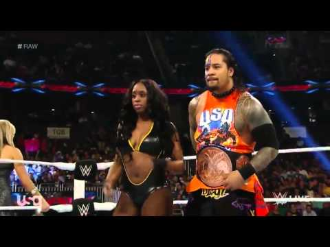 WWE RAW Naomi & Jimmy Uso vs Natalya & Tyson Kidd