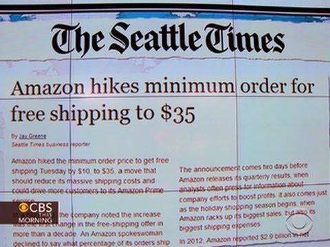 Headlines: Amazon raises minimum order for free shipping to $35