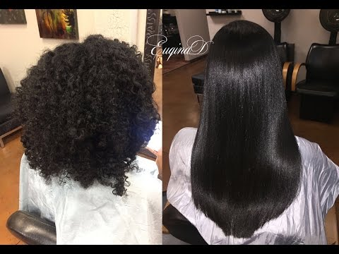 Natural Hair to Silky Straight on Thick Kinky Hair