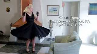 Black Sateen 50s Style Class Act Cocktail Dress from Blue Velvet Vintage
