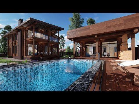 Проект одноэтажного дома с мансардой и бани из профилированного бруса