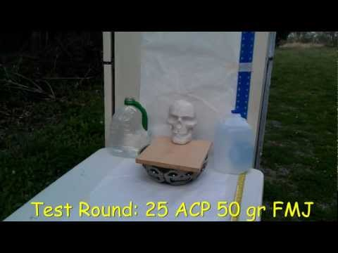 25 ACP 50 grain bullet shot through a phoenix arms raven vs. zombie skull