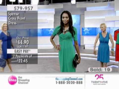 Spense Apparel Elbow Sleeve Cross Twist Front Dress At The Shopping Channel 579957