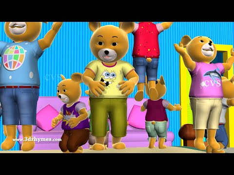Ten Little Teddy Bears Jumping On The Bed Song - 3D Animation Nursery Rhymes For Children