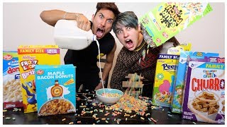 EATING All The WEIRD Cereals with Colby Brock  (TASTE TEST)
