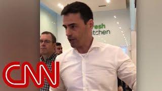 Man to Spanish speakers at New York restaurant: